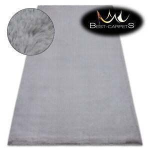 MODERN thick, soft in touch RUG 'BUNNY' silver Rabbit fur imitation bellarosa