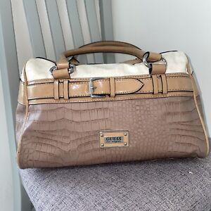 """Ladies GUESS Cream And Brown Moc-croc Tote Handbag Bag 13x10"""""""