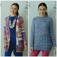 Knitting Pattern Donne lungo Cardigan & Maglione Lungo Super Chunky King Cole 4359