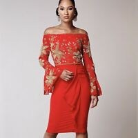 NEW Virgos Lounge Red Donata Embellished Bell Cocktail Bardot  Dress, sz 10
