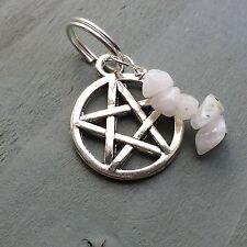 Rainbow Moonstone Pentagram Pendant Jump Ring Charm Wicca Witch Pagan Chakra