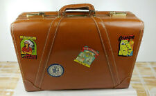 Mid Century Neolite Suitcase With Travel Stickers NYC Chicago