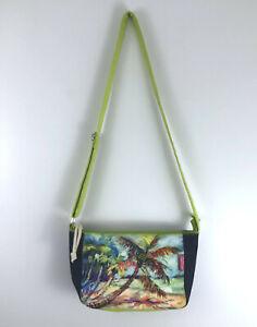 Leoma Lovegrove Crossbody Purse Bag Canvas Multicolor Beaded Beach Palm Tree