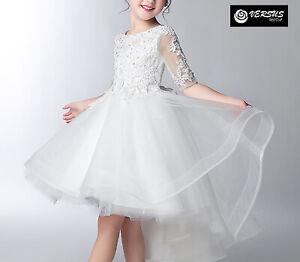 Vestito Cerimonia Damigella Comunione Asimmetrico Bambina Party Dress COM052
