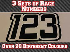 """3 conjuntos de 8"""" números de carrera Personalizado 200 mm Adhesivos Calcomanías MX Motocross Pista Bici N30"""
