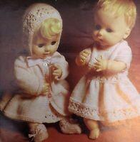 "Dolls Vintage Knitting Pattern Dress Coat Bootees Bonnet 14-20"" 3 Ply S5209"