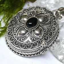 groß zauberhaftes Medaillon echt ONYX 925 Silber Handgeschmiedet zum öffnen