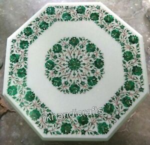 24 Inches Marble Sofa Table Top Malachite Stone Inlay Work Coffee Table for Home