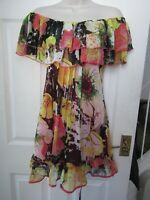 BNWT UK 6 NEXT Dress £40 Floral Pattern Chiffon Bardot Off Shoulder Summer Loose