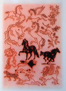 """Clear Stamps Sheet 7""""x10"""" ~ Horse Unicorn Lion FLONZ Vintage Rubber 403-006"""