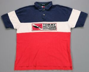 Rare Vintage TOMMY HILFIGER Dive Charter Spell Out Color Block Polo Shirt 90s XL