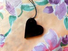 Black Shungite Heart Pendant - Heart Necklace Charm - EMF Protection Jewelry