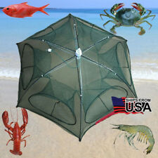 Foldable Crab Net Trap Cast Dip Cage Fishing Bait Fish Minnow Crawfish Shrimp US