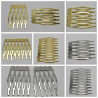 Gold Silver Blank Metal Hair Comb 5,6,8,10Teeth For Bridal Hair Accessories DIY