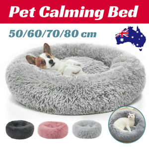 Pet Cat Dog Calming Bed Warm Soft Plush Round Nest Comfy Sleeping Kennel Cave