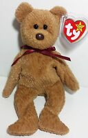 """RARE! TY Beanie Babies """"CURLY"""" Teddy Bear - MWMTs! RETIRED! PERFECT GIFT! MINT!"""