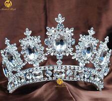 Floral Pageant Tiara Crown Clear Rhinestone Brides Wedding Headband Hair Jewelry