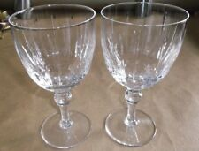 "2 Stuart HAMPSHIRE Crystal Water Goblets, 6 3/8"", Clear, England, EUC"