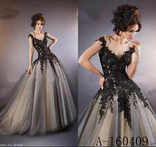 Vintage Black Gothic V Neck  Appliques Wedding Dresses Bridal Gown Custom made