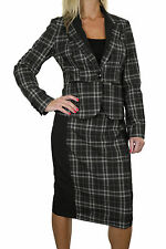 NEW (6354) Casual Lightweight Tartan Check Pencil Skirt Suit Black Grey 8-18