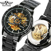 WINNER Men's Skeleton Automatic Mechanical Wrist Watch Black Stainless Steel