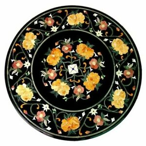 Marble Center Coffee Table Top Inlaid Floral Mosaic Marquetry Arts Home Decorate