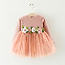 Toddler Infant Baby Girl Princess Dress Flower&Long Sleeve Party Wedding Dresses