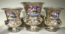 More details for derby c1810 -20 garniture of 3 finely painted & gilt vases.