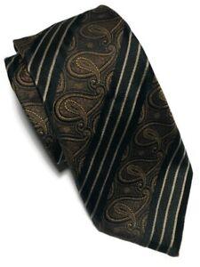 """Canali Men's Black/Gold Paisley Diagonal Striped 100% Silk Tie - 62.5""""L X 4""""W"""