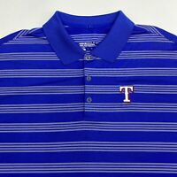 Nike Golf Texas Rangers Polo Shirt Men's 2XL Short Sleeve Blue Striped Polyester