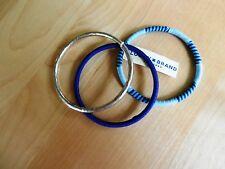 Lucky Brand Silvertone and Navy Thread Bangle  Bracelet  MSRP $35