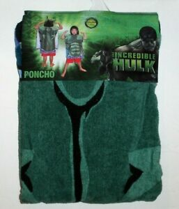 Incredible Hulk`2008`Marvel,Hooded Poncho Towel 20w x 24L->Rare,New Old Stock