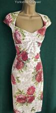 KAREN MILLEN Cream Beige Pink ROSES IN BLOOM Galaxy Dress Uk10