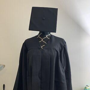 "JOSTENS Black Matte Graduation Cap And Gown 6'04""-6'06"" Used excellent condition"