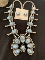 Blu GoldenHill TURQUOISE SterlingSilver Squash Bl Necklace Pend Navajo Pearl846