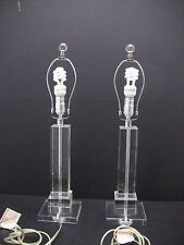 Pair Heavy Lucite Column Table Lamps (NO SHADES)