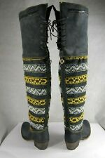 SUPER BEAUTIFUL! COBRA SOCIETY ZEUS GRAY LEATHER OVER THE KNEE BOOTS EU 38 US 8
