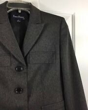 Evan Picone Women's Sz 6 Pant Suit Gray Herringbone 3-Button New! $200