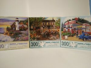"""Bits And Pieces 500 And 300 Pieces Puzzles Lot Of 3 Size 18"""" x 24"""""""