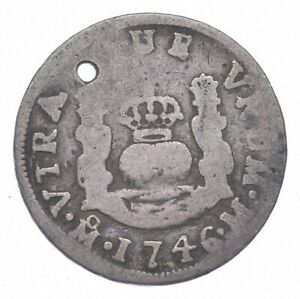 SILVER Roughly Size of Nickel 1746 Colonial Mexico 1 Real World Silver Coin *538