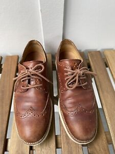 MENS COLE HAAN LUNAR GRAND WOODBURY LEATHER IVORY LONGWING DERBY OXFORD 7.5 M