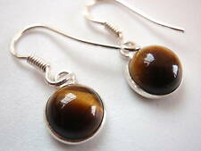 New Basic Round Tiger Eye Silver Dangle Earrings India