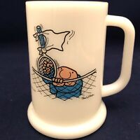Ziggy World's Worst Tennis Player Milk Glass Mug Universal Press Syndicate 1976
