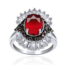 Ruby Cocktail Engagement Wedding Ring 14k White Gold Over Sterling Silver