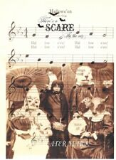 HALLOWEEN COLLAGE CHILDREN*THERE IS A SCARE IN THE AIR FABRIC BLOCK 8X10