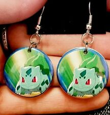 - Pokemon Pokémon Go Bulbasaur Pokémon Upcycled Button Earrings