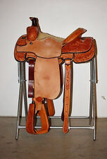 "Western Natural Leather Hand Tooled Roper Ranch 18"" Saddle : Tan Suede Seat"