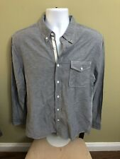 Mens AG Button Front Shirt Medium Cotton Denim Look Long Sleeves Metal Button 5A