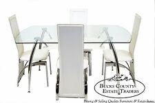Mid Century Modern Style Chrome & Glass Splay Leg Dining Dinette Set