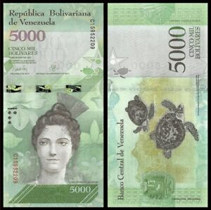 VENEZUELA 5000 (5,000) Bolivares, 2017, P-97, Sea Turtle, UNC World Currency